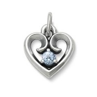 Avery Remembrance Heart with Lab-Created Aqua Spinel | James Avery