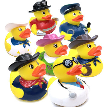 1 Pcs Kids Plastic Bath Toys Duck Floating Yellow Rubber Ducks Baby Shower Mini Bathroom Toys Yellow Decorations Party Supplies