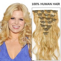 16 Inch 7pcs Body Wavy Clip In Remy Human Hair Extensions 70g (#27/613)