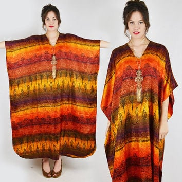 vtg 70s 80s boho hippie orange ethnic southwest MEXICAN BLANKET striped print CAFTAN festival maxi dress S M L