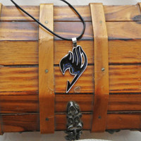 Gajeel Fairy Tail Symbol, Necklace, Fairy Tail Guild, Pendant, Black Fairy Tail Symbol, Gajeel Redfox, Anime necklace, Black Necklace