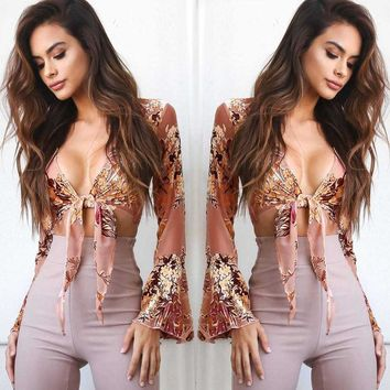 Tiffany Floral Bell Sleeve Top - Fashion Women Ladies Summer Long Sleeve Shirt Loose Casual Blouse Tops T-Shirt