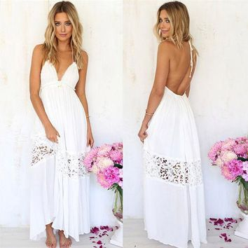 LMFON Fashion Solid Color Lace Stitching Halter Backless Sleeveless Deep V Maxi Dress