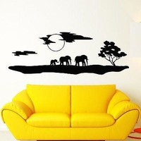 Wall Stickers Vinyl Decal Elephants Africa Animals Landscape Nature Unique Gift ig1535