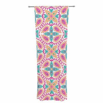 "Nandita Singh ""Boho In Multicolor"" Pink Abstract Decorative Sheer Curtain"