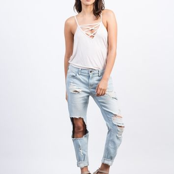 Super Light Wash Boyfriend Jeans