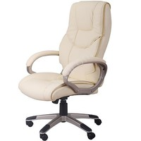 Adjustable Office Chair High Backed Faux Leather Chair in Cream at mh-star.co.uk
