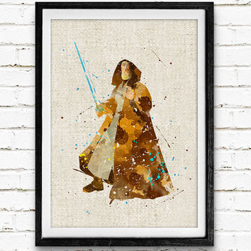 Star Wars Obi-Wan Watercolor Art Print, Baby Room, Nursery Wall Art, Home Decor, Not Framed, Buy 2 Get 1 Free!