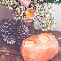 Double Rock Salt Candle Holder