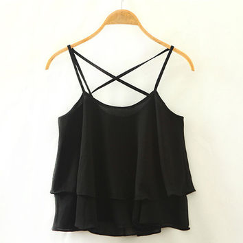 Black Backless Chiffon Tank Top
