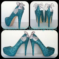 Teal Heart Glitter High Heels by ChelsieDeyDesigns on Etsy