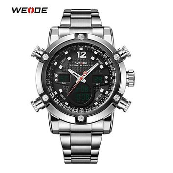 WEIDE Sport Watch Luxury Brand Dual Time Zone Black LCD Dial Alarm Steel Strap Relogio Quartz Digital Military Men Wristwatch