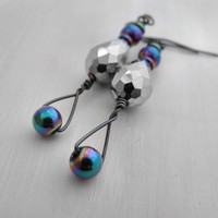 Futuristic Earrings Rainbow Hematite and Crystal Earrings Silver Crystal Earrings Gunmetal Earrings Metallic Rainbow