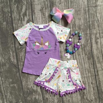 2018 new arrival lavender unicorn short sleeves baby girls Summer boutique clothing pom-pom shorts  with matching accessories