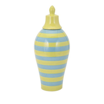 Large Sized Savannah Blue and Green Striped Lidded Vase by IMAX