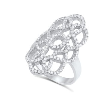 Sterling Silver Cz Filigree Armour Statement Ring