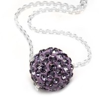 .925 Sterling Silver Purple Crystals Ball Pendant Necklace,18""