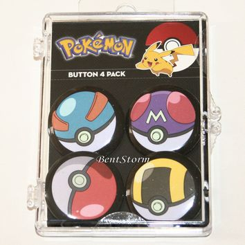 Licensed cool Pokemon GO Poke Ball 4 Pack Pin Back Button Set Ultra Master Nintendo Loungefly