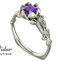 Flower Engagement Ring,Unique Engagement Ring,White Gold Solitaire Ring By Vidar Jewelry Botique,Amethyst Engagement Ring,Vintage Ring Gold