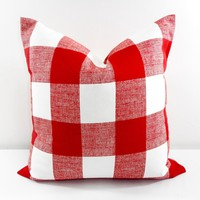 Red and White Buffalo Check Pillow Cover
