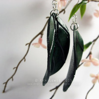 Green Leaf, Leather Earrings, Handmade Leather, Leaf Charm, Spring Jewelry, Hypo Allergenic, Nickel Free, Elf Leaf, Forest Jewelry