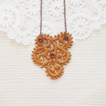 Matt Golden Lace Jewelry  Rustic Copper  Scallop Lace by sukran