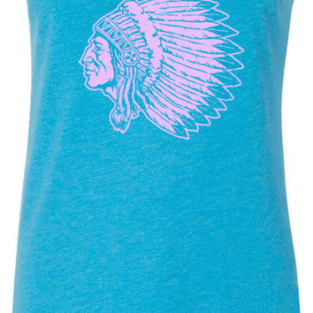 Indian Elder (Pink) Tri-Blend Racerback Tank-Top