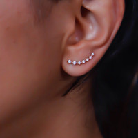 Rose Gold Ear cuff with Cubic Zirconia Gemstone, Rose Gold Ear Climber,Rose gold studs, silver climbing earrings everyday earrings, cz stud