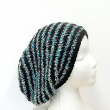 Knitted slouch hat shades of teal and black stripes oversized beanie large   5203