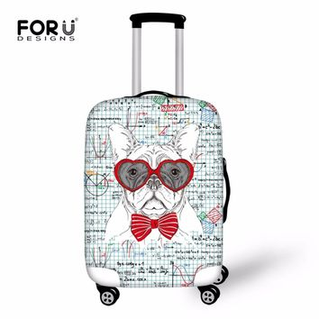 FORUDESIGNS Cute Dog Case Cover New Travel Suitcase Protective Covers 3D Kawaii Elastic Stretch Spandex Luggage Cover Dust-proof