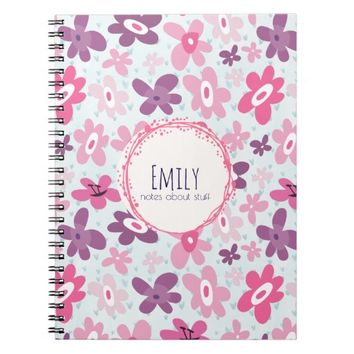 Pink Flowers Cute Whimsical Pattern Personalized Spiral Notebook