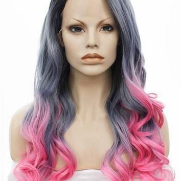 Long Wavy Dark Blue Pink Ombre Cosplay Lace Front Wig