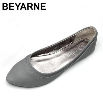 BEYARNELarge Size 41 Women'S Shoes Spring Autumn Ballet Flats Ladies Ballerinas Women's Leather Shoes