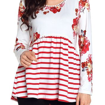 White Red Floral Striped Babydoll Tunic