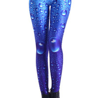 ROMWE | Water Drops Blue leggings, The Latest Street Fashion