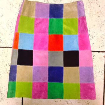 Rainbow suede patchwork skirt