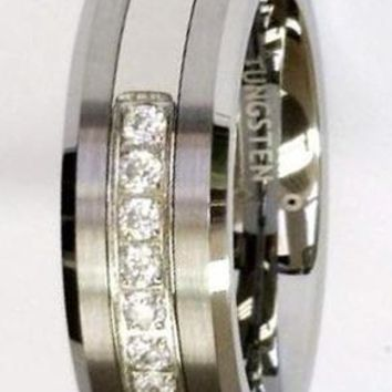 CERTIFIED 8Mm White Cz 7 Stones Tungsten Carbide Ring Men Jewelry Wedding Bands