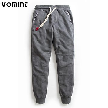 Vomint 2017 New Men Sweatpants Drawstring Pocket Cuff Ribbon Knee Sewing High Quality Cotton Color 3XL Jogger Pants V7A1P010