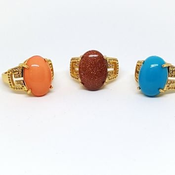 1-3127-g5 Gold Overlay Greek Design ring with Colored Stone.