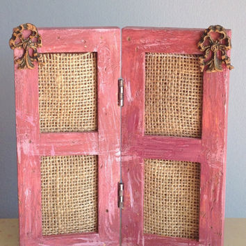 "ON SALE!-Pink Shabby Chic Photo Frame Four 2""x2 1/2"" Pictures Recycled  Distressed Pink Vintage Wood Embellishments"