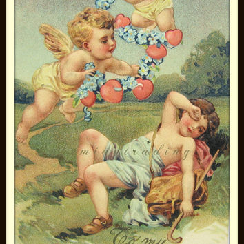 Valentine's Day Postcard. Victorian Cupid, Cherubs, Hearts. Forget Me Not Card. Romantic Antique 1900s Collectible, Embossed Germany, PFB