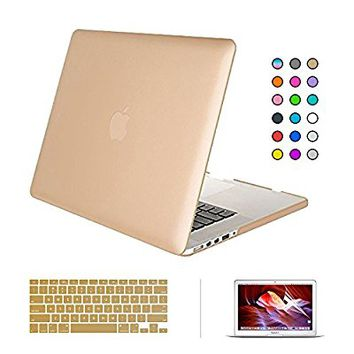 "Macbook Pro 15"" with Retina Display Case, ICE FROG Rubberized Plastic Hard Matte Frosted Slim Case Cover + Soft TPU Keyboard Skin + HD Screen Protecor (A1398) - Gold"