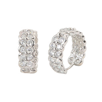 Sterling Silver Huggie Hoop Earrings 2 Row CZ 16mm x 6mm