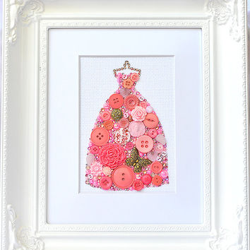Button Art - Pink Gown - Vintage Button Art, Wall Hanging, Wall Art, Home Decor, Button Mosaic, Button Artwork, Pink Dress Art