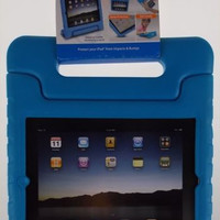 iPad 2 3 4 Tech & Go Bump Case Blue Protects Impact Handle Stand Carry Durable