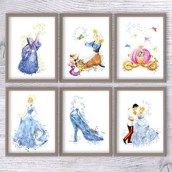 Cinderella watercolor print Set of 6 Cinderella wall art poster Kids room wall art Girls room decoration Wall hanging Baby shower gift V466