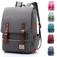 Men Women Vintage Casual Canvas Backpack  [10198252615]