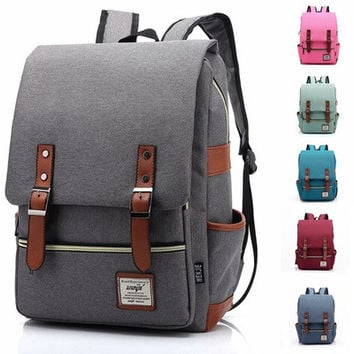 137de937b289 Men Women Vintage Casual Canvas Backpack  10198252615