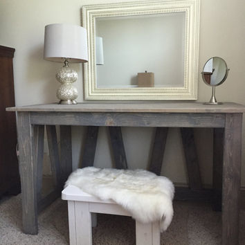Rustic Wooden Vanity / Desk - Handmade, Solid Wood Bedroom Vanity