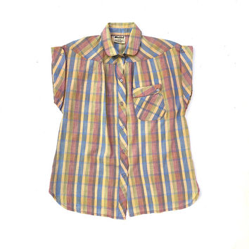 Vintage 1980s 'Mischief' plaid pastel blouse with woven gold lurex stripe and pocket